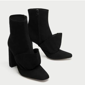 NWT ZARA genuine leather block heel ankle boots